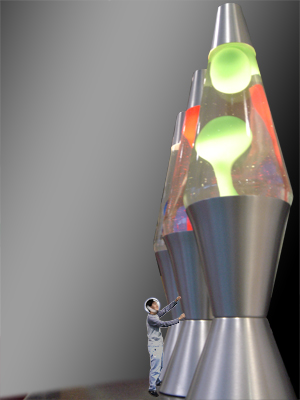 Giant lava lamps filled with biomass suspended in seawater generate oxygen for the complex